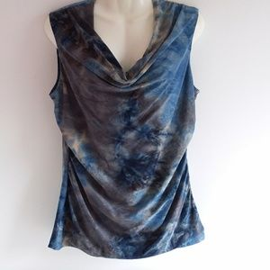AB Studio Muted Blue's & Gray's Drape Front Top